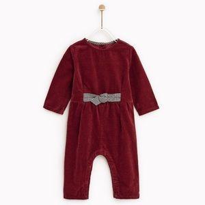 Zara baby girls corduroy jumpsuit with bow